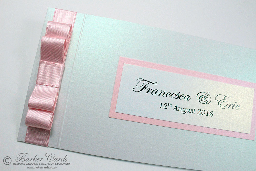 Blush Pink and White Shimmer Wedding Invitation Cheque Book. Free ...