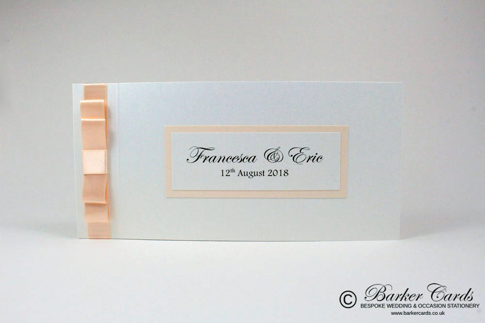 Soft Peach / Coral and White Pearl Wedding Invitation Cheque Book ...