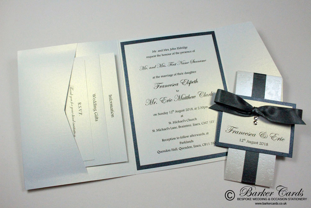 Grey Pocketfold Wedding Invitations