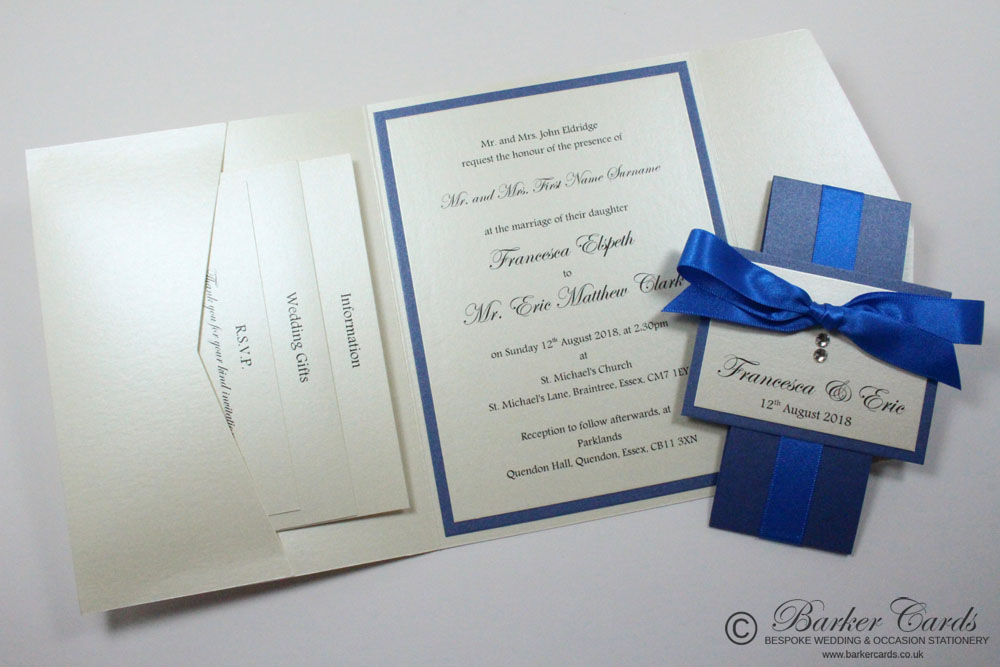 Cobalt Blue Pocketfold Wedding Invitations