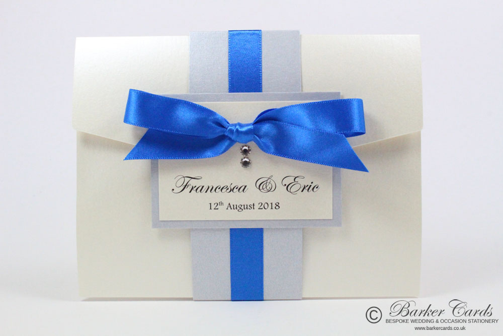 Royal blue cobalt blue with silver grey and cream ivory pocketfold wedding invitation neutral silver grey and royal blue with cream adorned with swarovski crystals stopboris