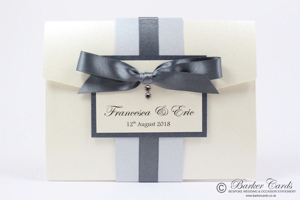 Luxury Pocketfold Wedding Invitation - Navy Blue and white embossed ...