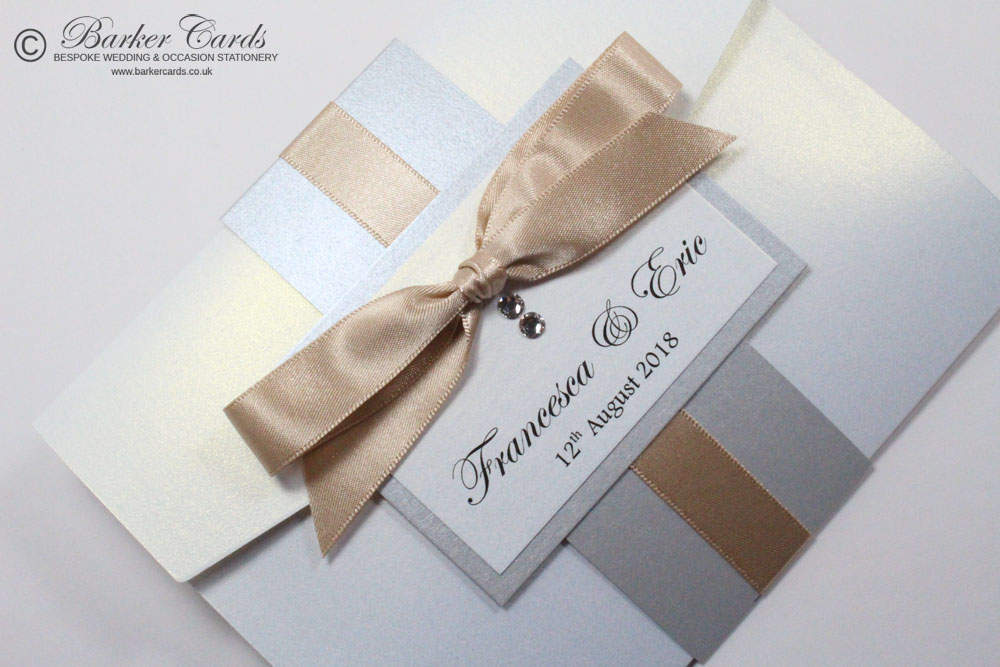 Champagne Latte and Silver with Cream / Ivory Pocketfold Wedding ...