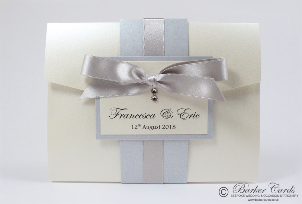 Silver Grey and Cream / Ivory Pocketfold Wedding Invitations. Free ...