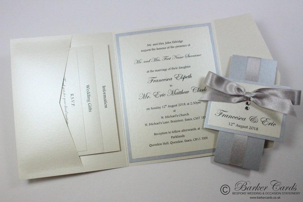 Silver Pocketfold Wedding Invitation