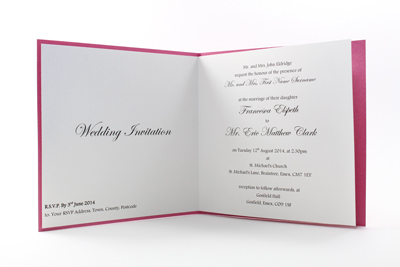 Bright Coloured Wedding Invitations - Paper insert