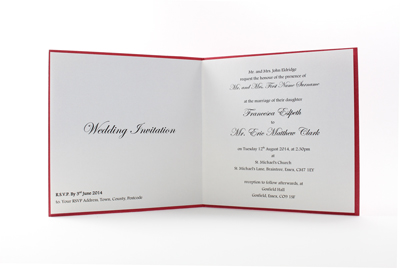 Chinese Wedding Invitations UK - Paper Insert