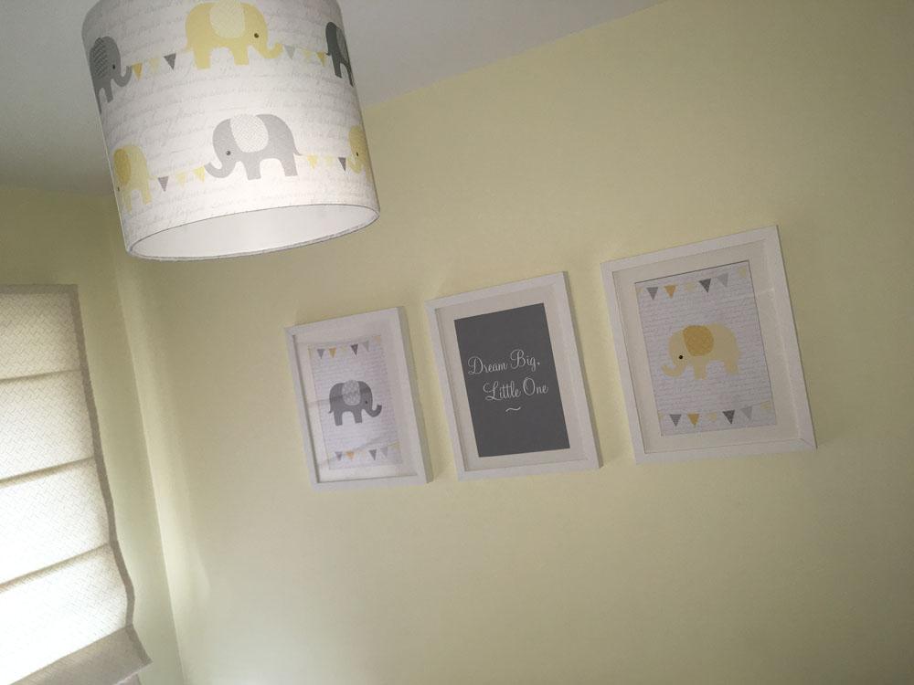 Yellow Nursery Elephant & Bunting Lampshade