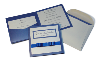 Graceful wedding invitation - Blue, Essex