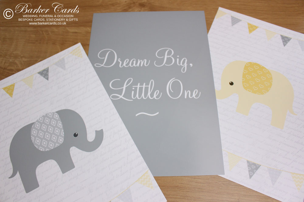 Yellow Elephant Wall Prints for Baby's Nursery, Kids or Children's Bedrooms. New Baby Gift