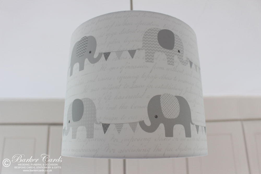 Grey Nursery Elephant Lampshade