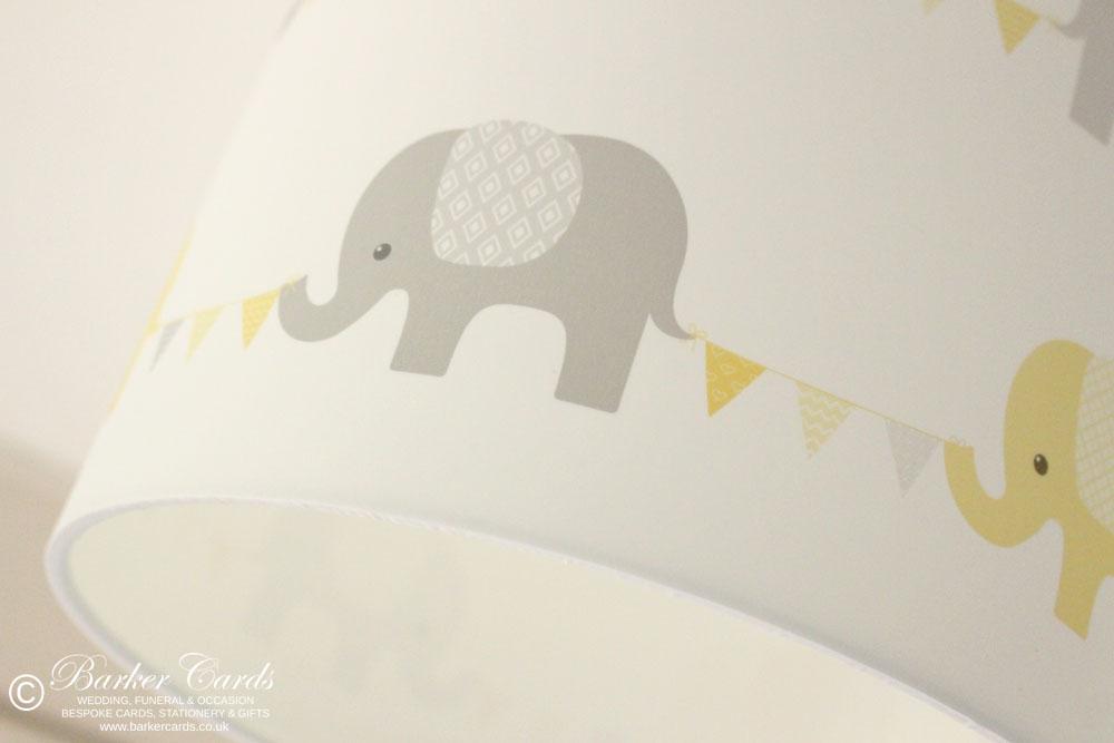 Yellow Nursery Elephant & Bunting Lampshade Plain White Background
