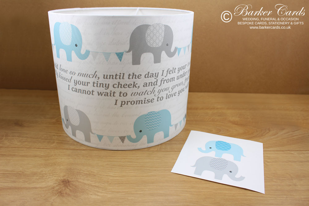 Baby Blue Nursery Elephant Lampshade