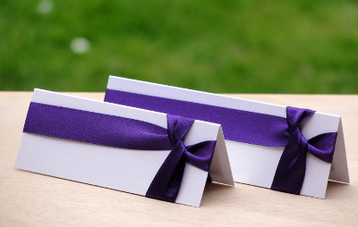 Wedding Place Cards Dark Cadbury Purple and White