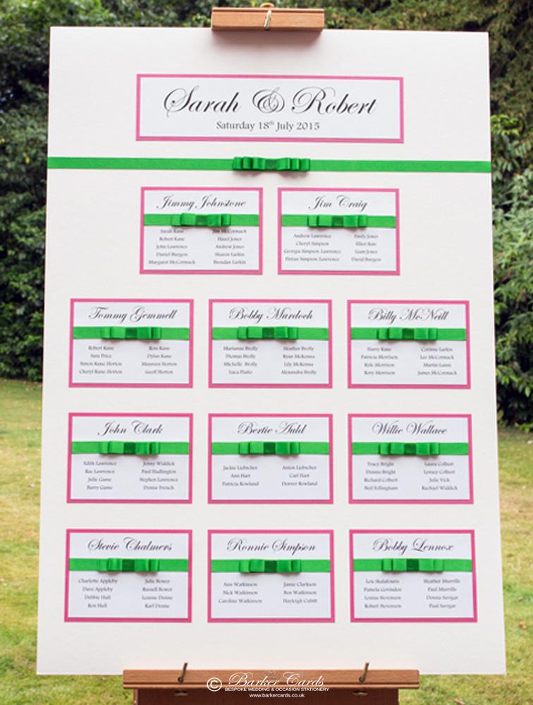 Pink Wedding Table Plan