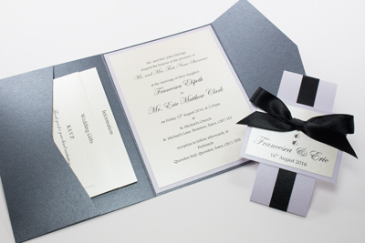 Black Pocketfold Invitations