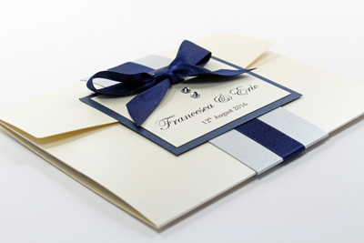 Pocketfold wedding invitations navy blue and silver grey with ivory pocketfold wedding invitation navy blue and silver grey with ivory cream and swarovski crystals stopboris Gallery