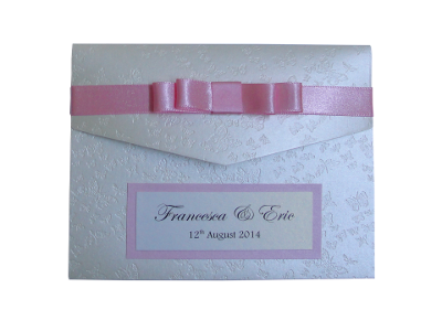Elegant Pocketfold wedding invitation made with Cream Butterfly Embossed and Rose pearlised card and Dark Rose ribbon