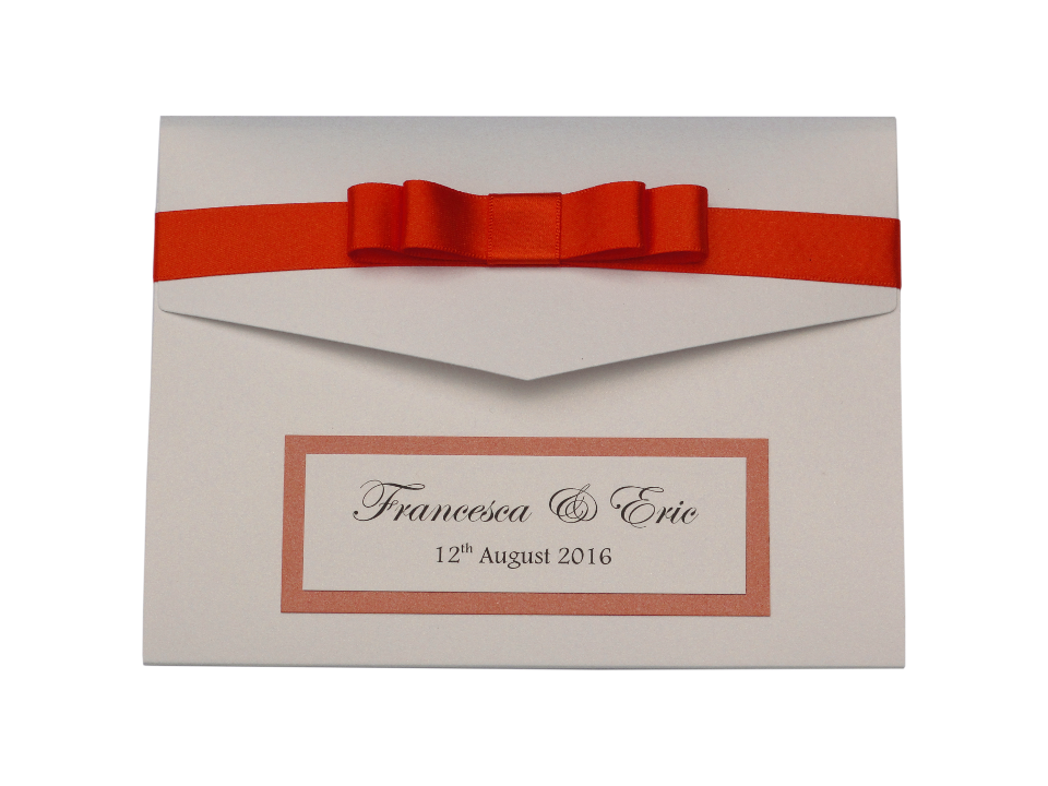 free sample of a pocketfold wedding invitation made in whit and orange.