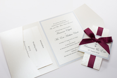 Pocketfold wedding invitation with band in burgundy, cream and silver with butterflies