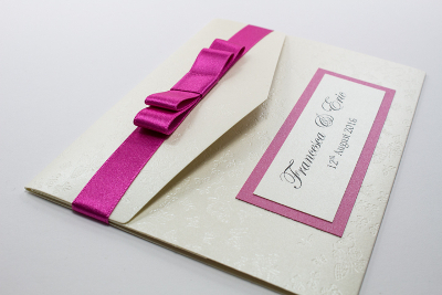 personalised bright pink and cream butterfly pocketfold wedding invitation