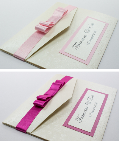 pale pink and shocking pink pocketfold wedding invitation with cream butterflies