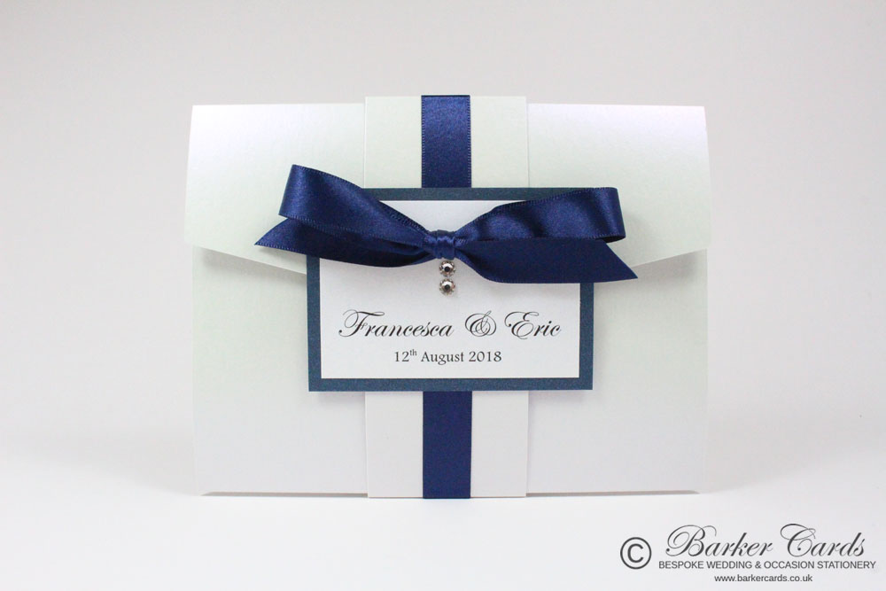 Neutral Silver Grey and White Pocketfold wedding invitations. Free ...