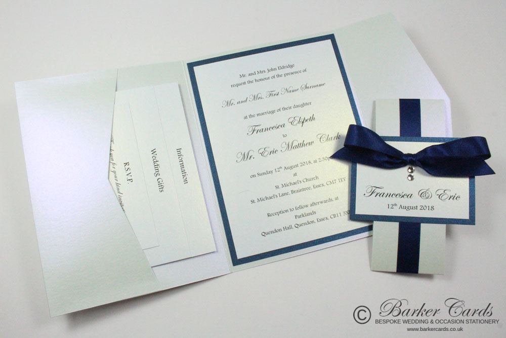 Navy Blue and White Pocketfold Wedding Invitations. Free wedding ...