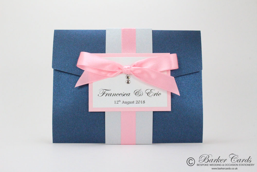Navy Pocketfold Wedding Invitations