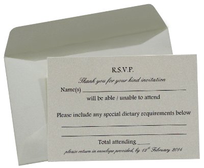 Wedding RSVP Cards and printed envelopes, Essex