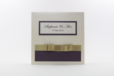 Serenity Wedding Invitation Dark Cadbury Purple and Gold / Straw with Cream / Ivory Embossed with Butterflies