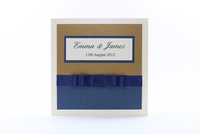 Serenity Wedding Invitation Antique Gold and Dark Navy Blue with Cream / Ivory