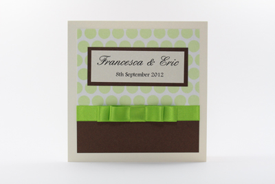 Serenity Wedding Invitation Lime Green Polka Dot and Dark Hot Chocolate Brown / Bronze with Cream / Ivory