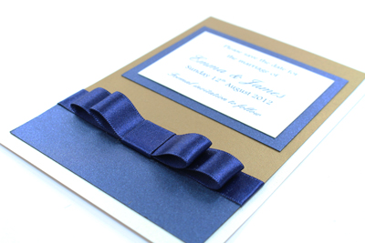 Wedding Save the Date Card  Serenity Collection Dark Navy Blue and Gold with Cream / Ivory