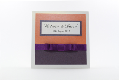 Serenity Wedding Invitation Dark Cadbury Purple and Bright Orange / Burnt Orange with White
