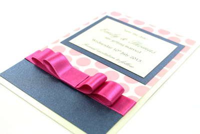 Wedding Save the Date Card  Serenity Collection Fuchsia / Hot Pink / Blush Pink Polka Dot and Dark Navy Blue with Cream / Ivory