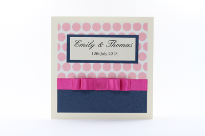Serenity Wedding Invitation Fuchsia / Hot Pink / Blush Pink Polka Dot and Dark Navy Blue with Cream / Ivory