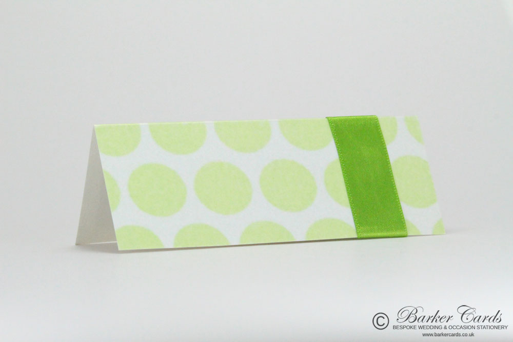 Wedding Place Cards Bright Lime Green Polka Dot and Dark Hot Chocolate Brown / Bronze