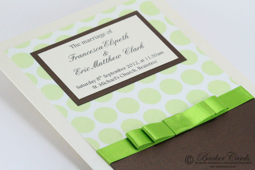 Wedding Orders of Service  Serenity Collection Green Polkadot, Hot Chocolate Brown / Bronze and Cream / Ivory