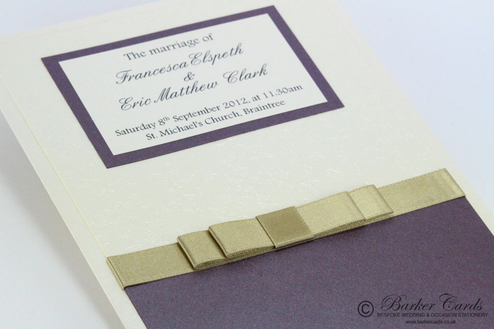 Wedding Orders of Service  Serenity Collection Dark Cadbury Purple, Gold / Champagne with Ivory / Cream and Butterflies