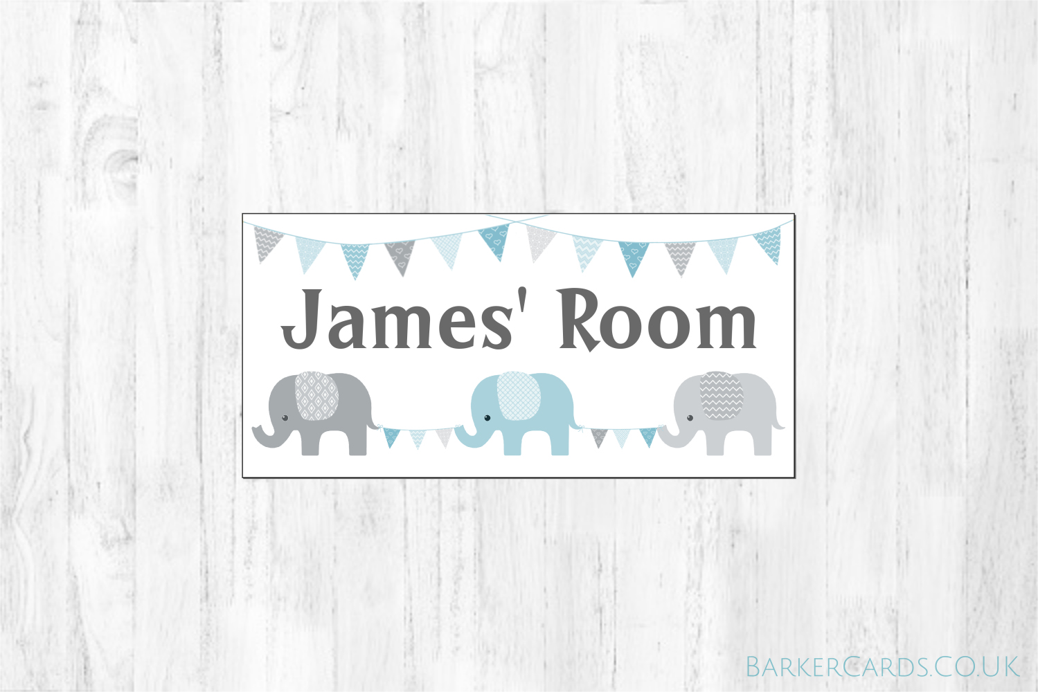 Blue Nursery Elephant Bedroom Door Sign