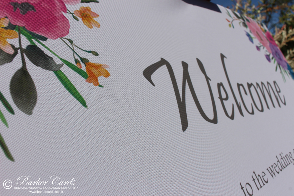 Wedding Welcome Sign - Canvas A1 - Floral design