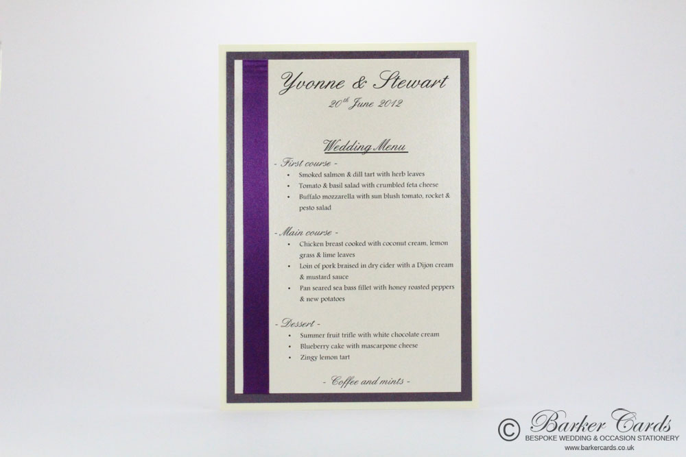 Handmade Wedding Menu Cards
