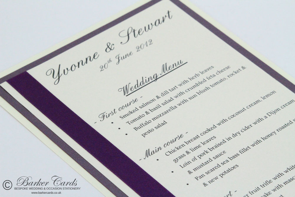 Handmade Wedding Menu Cards Purple