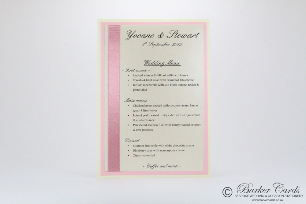 Wedding Menu Cards Ideas