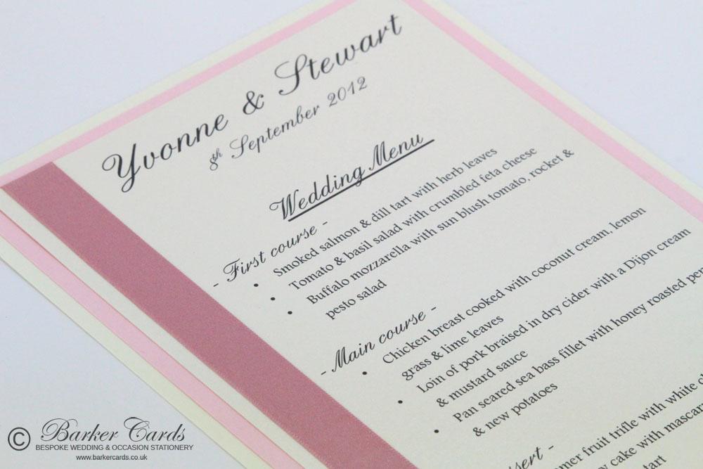 Wedding Menu Cards Pink