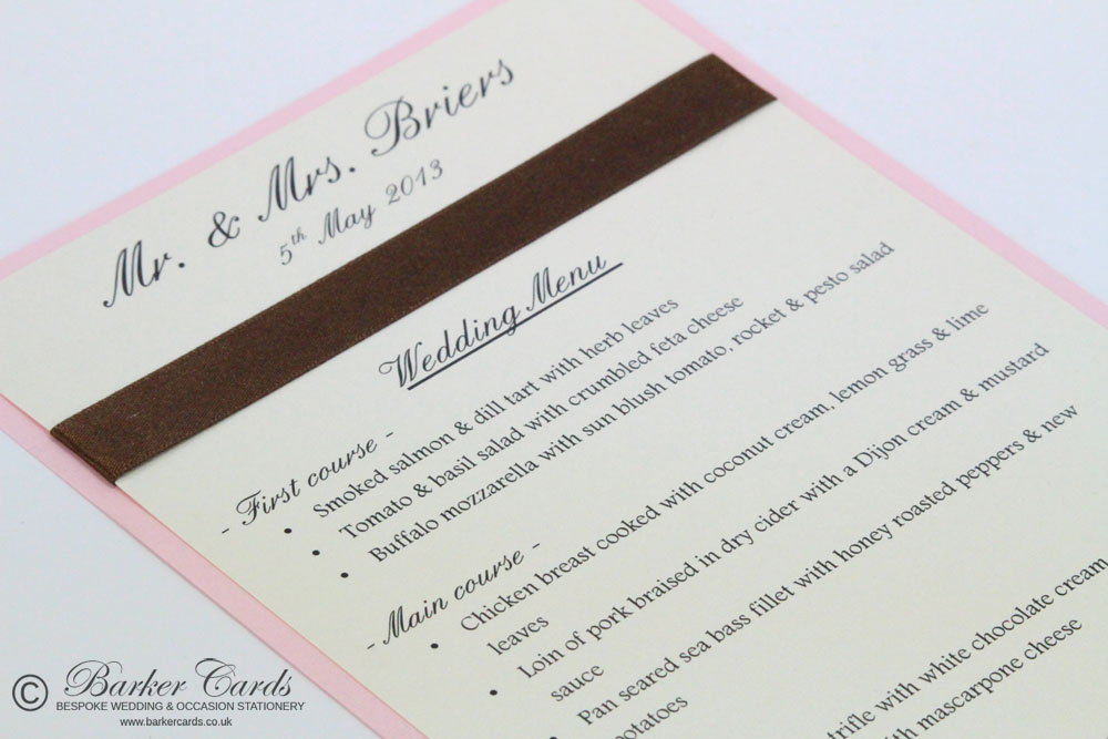 Wedding Table Menus Pink
