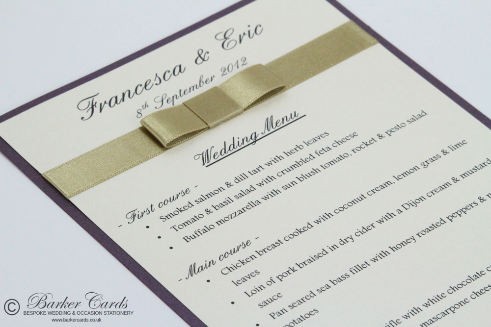 Printed Wedding Menu Cards