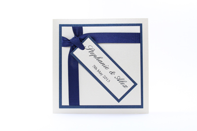 Wish Wedding Invitation Dark Navy Blue and Cream / Ivory