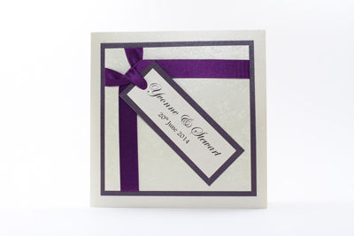 Wish Wedding Invitation Dark Cadbury Purple and Cream / Ivory Embossed with Butterflies